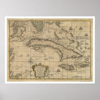 Island of Cuba Map - 1762 Poster