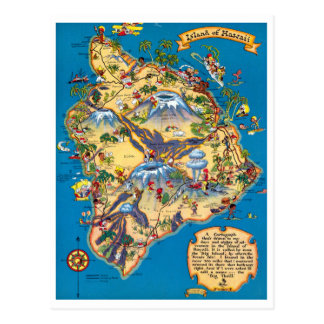 Island of Hawaii Funny Map Postcard