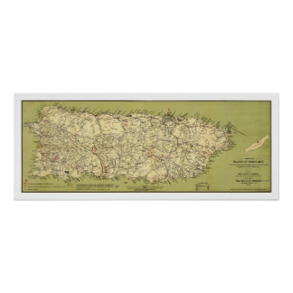Island of Puerto Rico Map 1900 Poster
