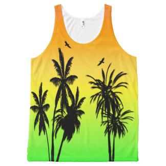 Island Paradise Tropical Palm Trees Sunset Retro