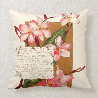 Island Plumeria Flowers Bermuda Floral Poem Throw Pillow