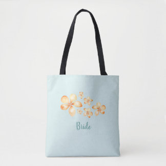 Island Plumeria Watercolor Bridal Tote Bag