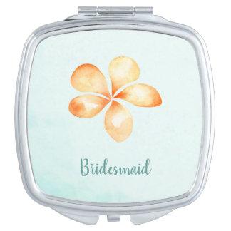 Island Plumeria Watercolor Compact Mirror