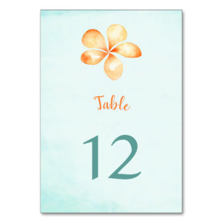 Island Plumeria Watercolor Table Number Cards