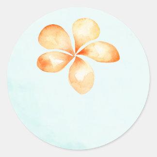 Island Plumeria Watercolor Wedding Favor Stickers