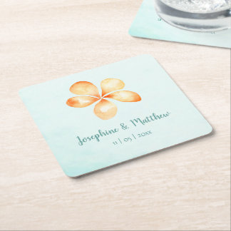 Island Plumeria Watercolor Wedding Square Paper Coaster