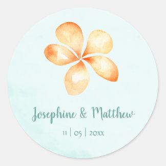 Island Plumeria Watercolor Wedding Stickers