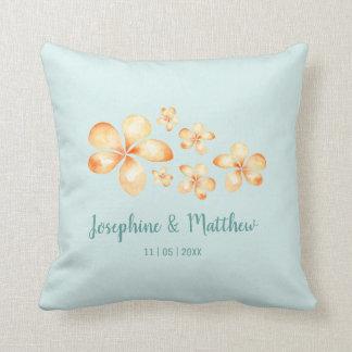 Island Plumeria Watercolor Wedding Throw Pillow