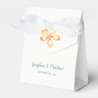 Island Plumeria Yellow Watercolor Wedding Favor Box