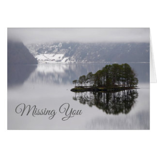 Island Reflected in Lake Missing You Blank Note Card