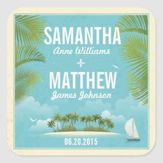Island Resort Beach Destination Wedding Gift Label Square Sticker