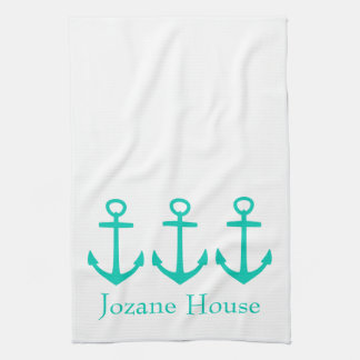 Island Sea Anchors on White Personalized Kitchen Towel