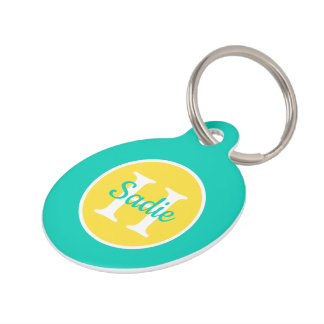 Island Sea and Banana Yellow Polka Dot Monogram Pet ID Tag