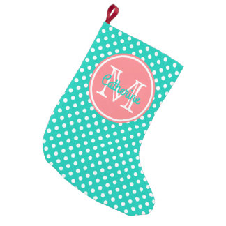Island Sea and Coral Pink Polka Dot Monogram Small Christmas Stocking
