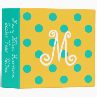 Island Sea and Sunset Yellow Polka Dot Monogram Binder