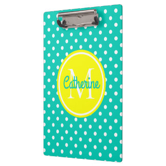 Island Sea and Sunshine Polka Dot Monogram Clipboard