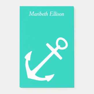 Island Sea and White Anchor Personalized Post-it Notes