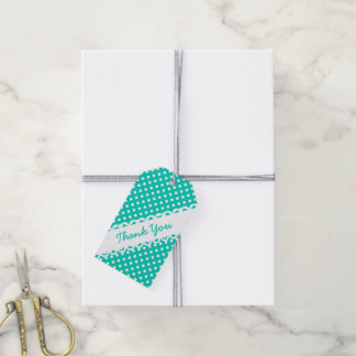Island Sea and White Polka Dot Thank You Pack Of Gift Tags