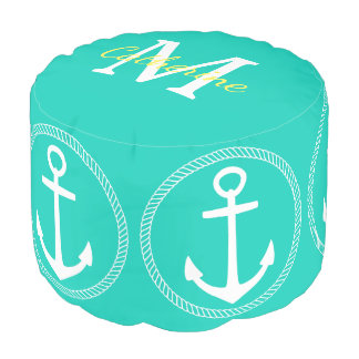 Island Sea With White Anchor Monogram Pouf