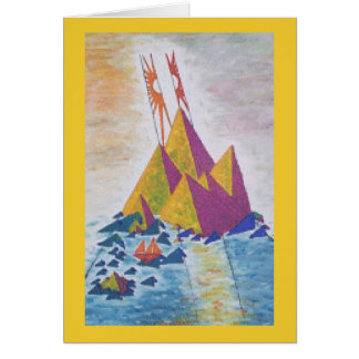 Island Sun Abstract Art / Digital Design on back Card