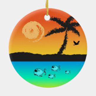 Island Sunset Ceramic Ornament