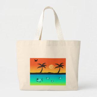 Island Sunset Large Tote Bag