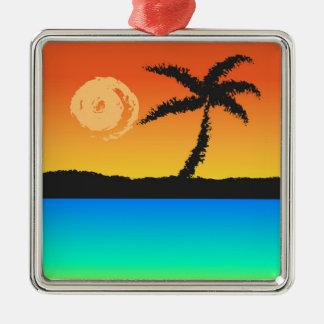 Island Sunset Metal Ornament