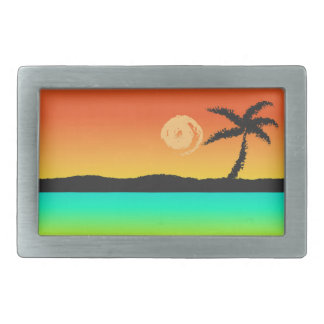 Island Sunset Rectangular Belt Buckle