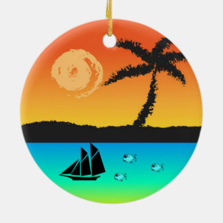 Island Sunset Round Ceramic Ornament