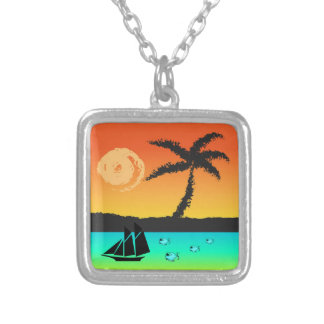 Island Sunset Silver Plated Necklace