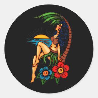 Island Sunset Round Stickers