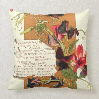 Island Sweet Pea Flowers Bermuda Floral Poem Throw Pillow