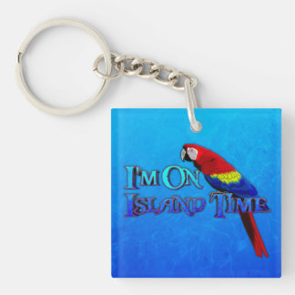 Island Time Parrot Keychain