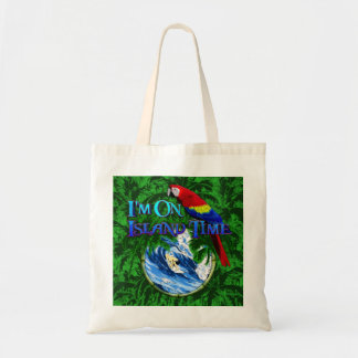 Island Time Surfing Palm Trees Budget Tote Bag