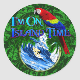 Island Time Surfing Palm Trees Round Sticker