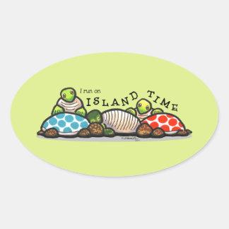 Island Time Turtles Oval Sticker