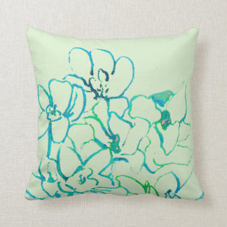 Island Tropical Orchid Pillow - Blue Green
