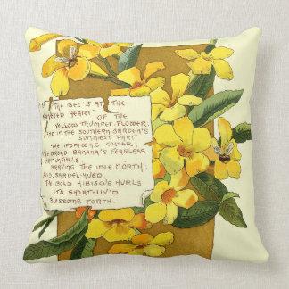 Island Trumpet Flower Bermuda Floral Poem Throw Pillow