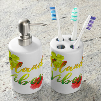Island Vibes Soap Dispenser And Toothbrush Holder
