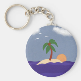 Island with Palm Tree, Sunset and Seagulls Key Chains