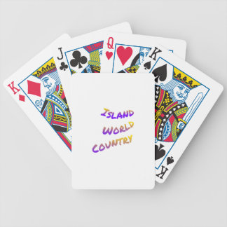 Island world country, colorful text art bicycle playing cards