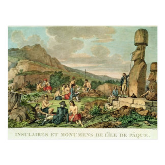 Islanders and Monuments of Easter Island Postcard