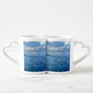 Islands in the blue sea lovers mug sets