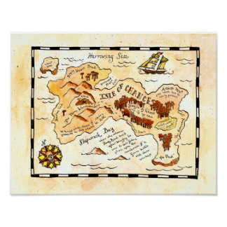 Isle of Chance Treasure Map Poster