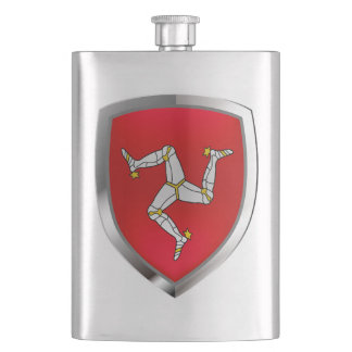 Isle of Man Metallic Emblem Hip Flask