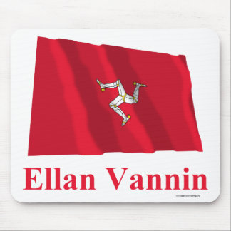 Isle of Man Waving Flag with Name in Manx Mouse Pad