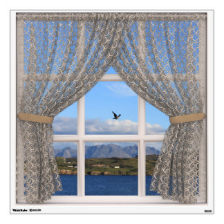 Isle of Skye Sea and Hills View from Faux Window Wall Decal