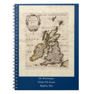 Isles Britanniques - 1700 Nicolas Fils Sanson Map Spiral Notebook