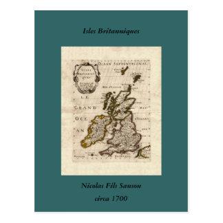 Isles Britanniques - 1700 Nicolas Fils Sanson Map Postcard