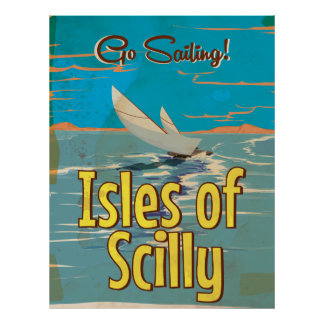 Isles of Scilly Sailing vintage travel poster